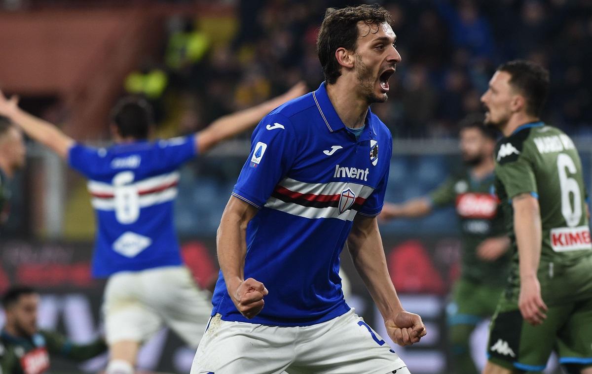Manolo Gabbiadini se bucură în timpul unui meci