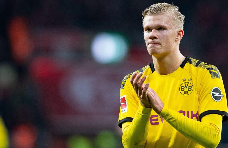 Erling Haaland sărbătorește marcarea unui gol