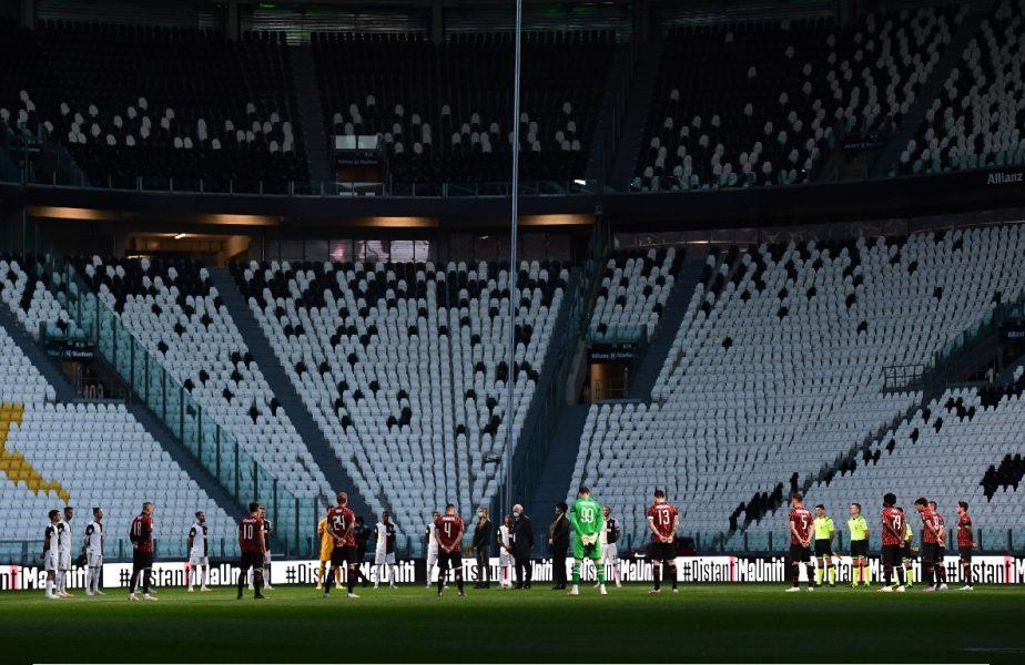 S-a stins lumina! Momente emoționante înainte de Juventus-Milan, primul meci de după pandemie în Italia