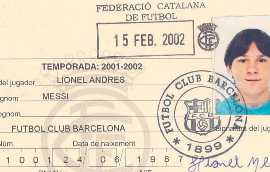 Intâia legitimația a lui Messi. 19 ani de atunci!