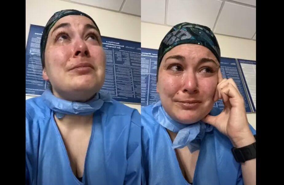 """Imagini dramatice cu o asistentă ce plânge în spital! Motivul """"inutil"""" pentru care i-au murit mai mulți pacienți cu Coronavirus"""