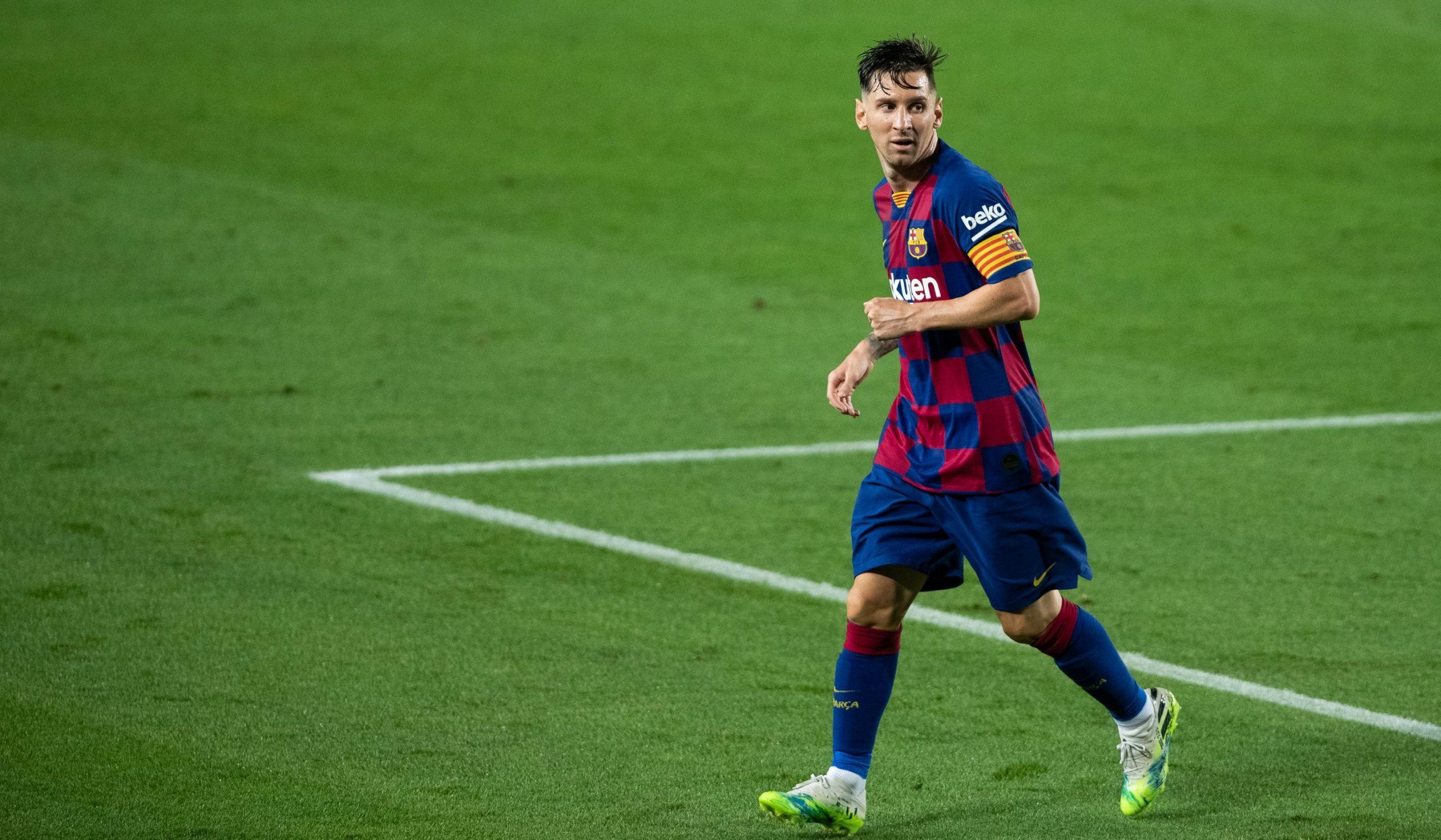 Lionel Messi sărbătorește un gol marcat pentru Barcelona