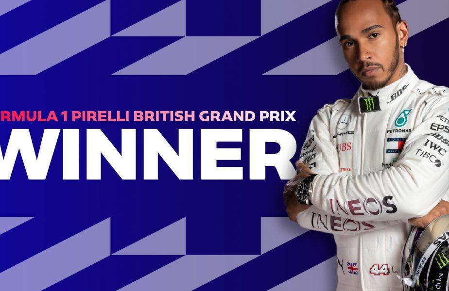 Final dramatic la Silverstone! Lewis Hamilton a câştigat cursa cu pană în ultimul tur