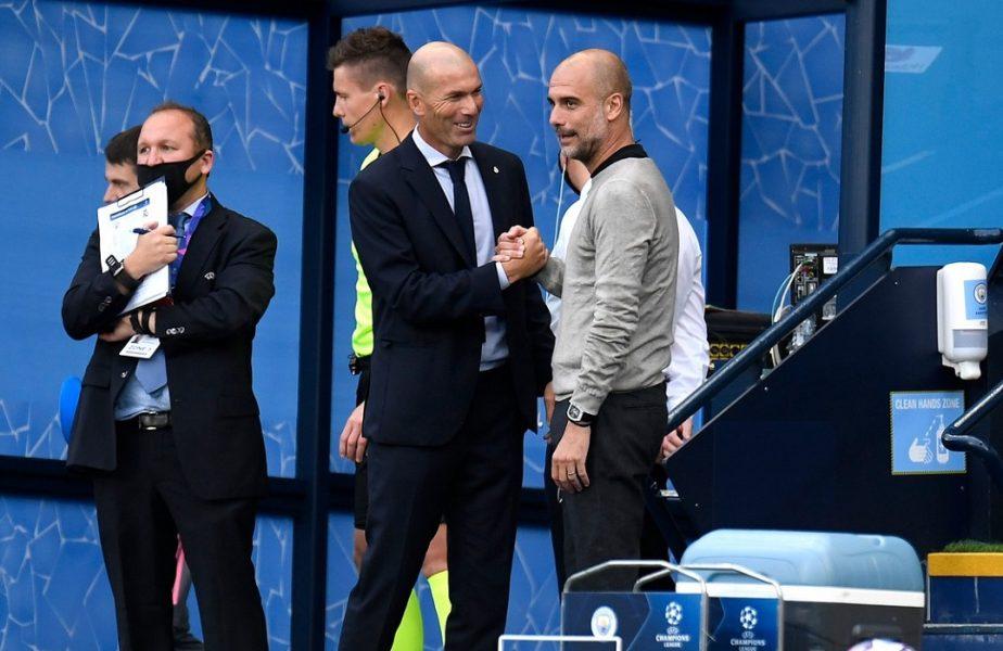VIDEO | Zidane şi Guardiola, surprinşi într-o ipostază inedită după meci. Reacţia memorabilă a spaniolului