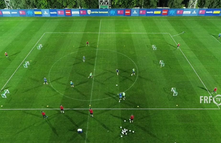 """România """"high-tech!"""" Jucătorii lui Rădoi, filmați cu drona la primul antrenament înaintea meciului cu Islanda"""