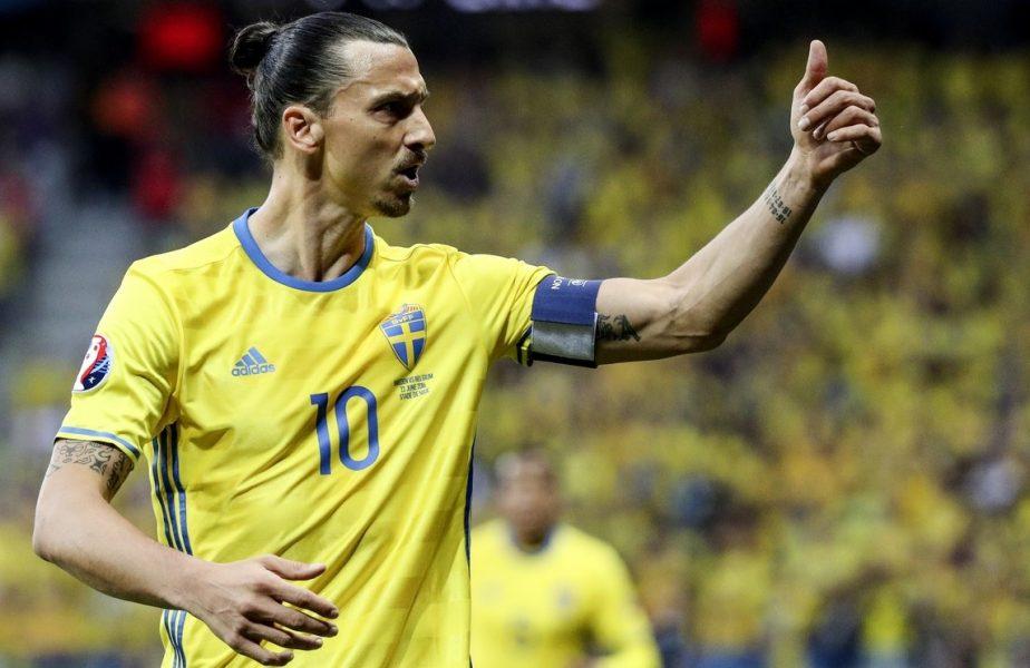 Zlatan Ibrahimovic în timpul meciului de la EURO 2016 dintre Suedia și Belgia