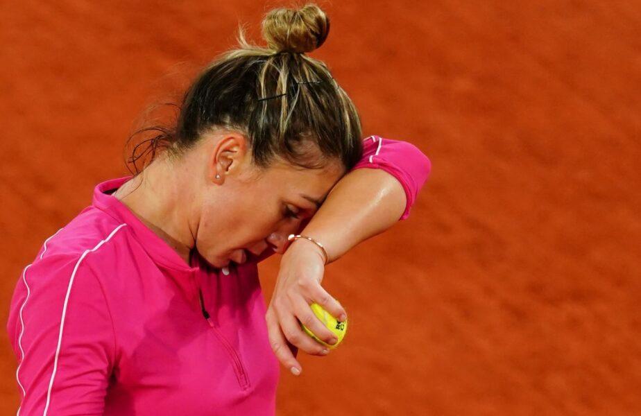Simona Halep, în timpul unui meci de la Roland Garros