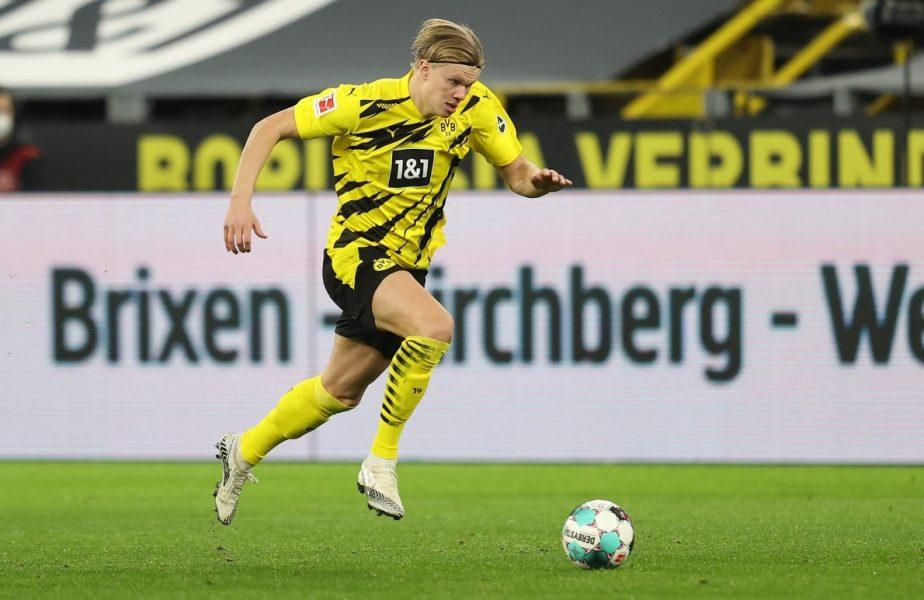 Erling Haaland într-un meci pentru Dortmund împotriva lui Bayern