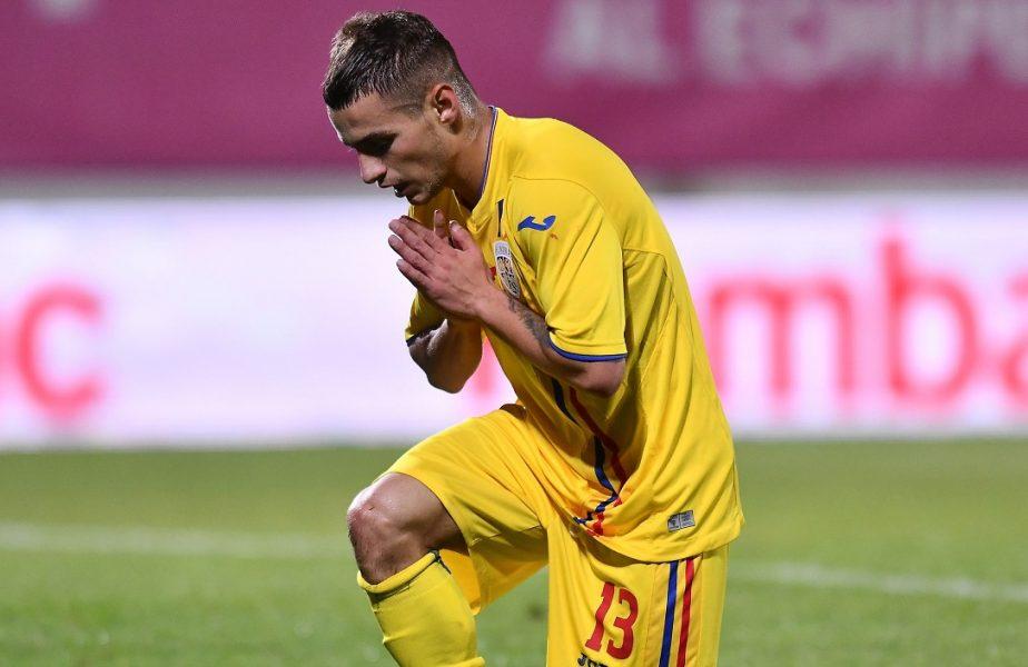 Ratarea anului în fotbal! Mățan a dat cu pumnul de pământ după ce nu a marcat, din fața porții, în România U21 – Danemarca U21