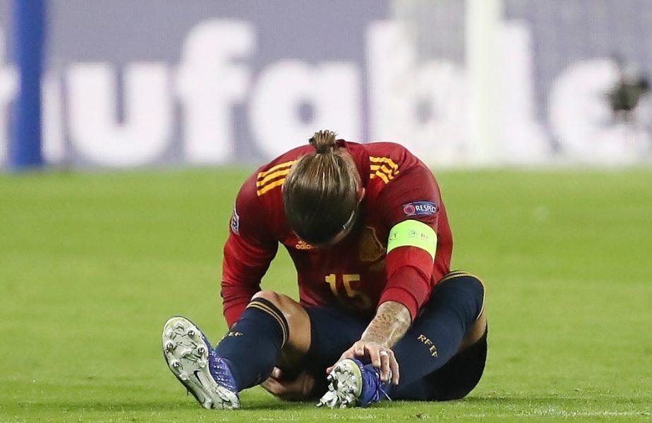 """S-a """"rupt"""" căpitanul! Sergio Ramos s-a accidentat cu Spania și ratează meciul cu Inter. Real Madrid, mari probleme în apărare"""