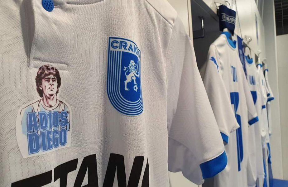 """""""Adios, Diego!"""" Maradona, comemorat în România. Jucătorii Craiovei vor purta tricouri speciale la meciul din Cupa României"""