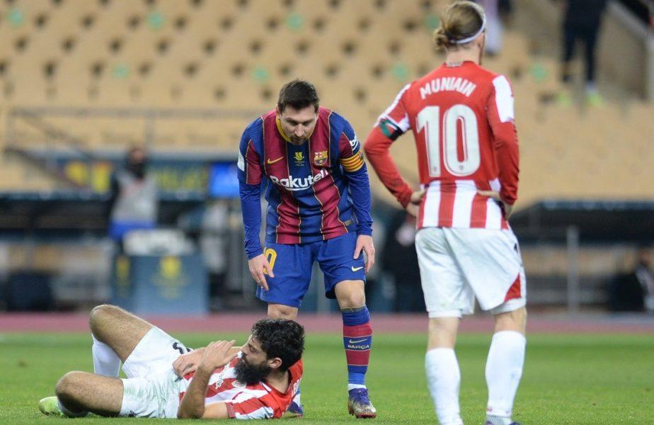 Barcelona – Athletic Bilbao 2-3. Bascii au câştigat Supercupa Spaniei! Lionel Messi, eliminat în premieră în tricoul Barcei! Inaki Williams, gol de poveste