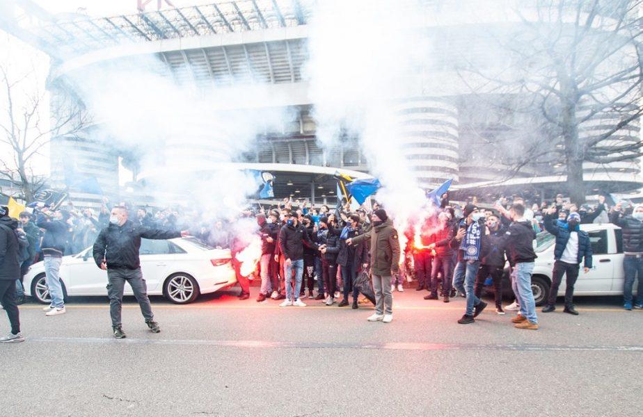 VIDEO | Nebunie înainte de Milan – Inter. Mii de fani s-au adunat la stadion. Forţele de ordine au intervenit în ultimul moment