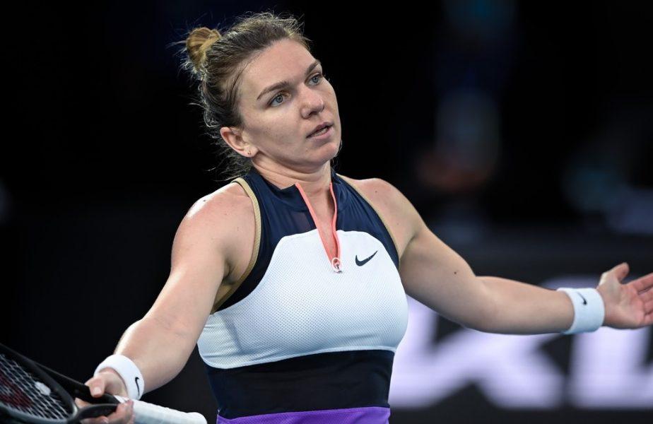 Simona Halep, nemulţumită, în timpul meciului cu Serena Wlliams