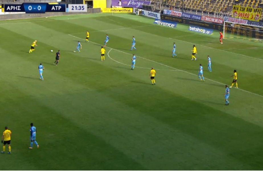 VIDEO | Cristi Ganea tocmai a făcut meciul vieţii! A reuşit un gol fabulos în Aris – Atromitos 3-0. Execuţie încântătoare a românului