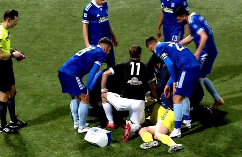 Imagini dramatice la Chiajna – FC U Craiova 0-0! Robert Popa, portarul Craiovei lui Mititelu, a fost umplut de sânge de un adversar