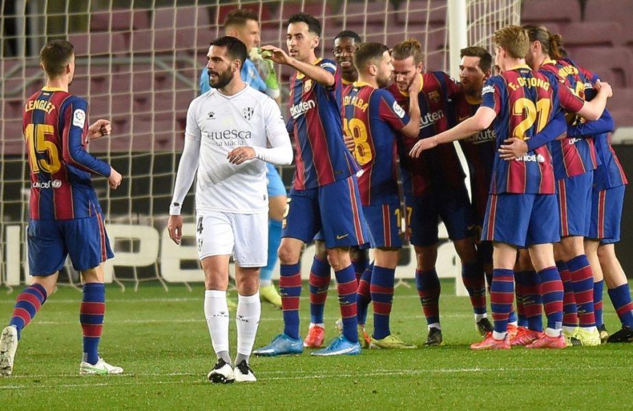 "Barcelona – Huesca 4-1 | Catalanii s-au apropiat la 4 puncte de liderul Atletico Madrid. Lionel Messi a făcut ""dubla"" și i-a egalat recordul lui Xavi"