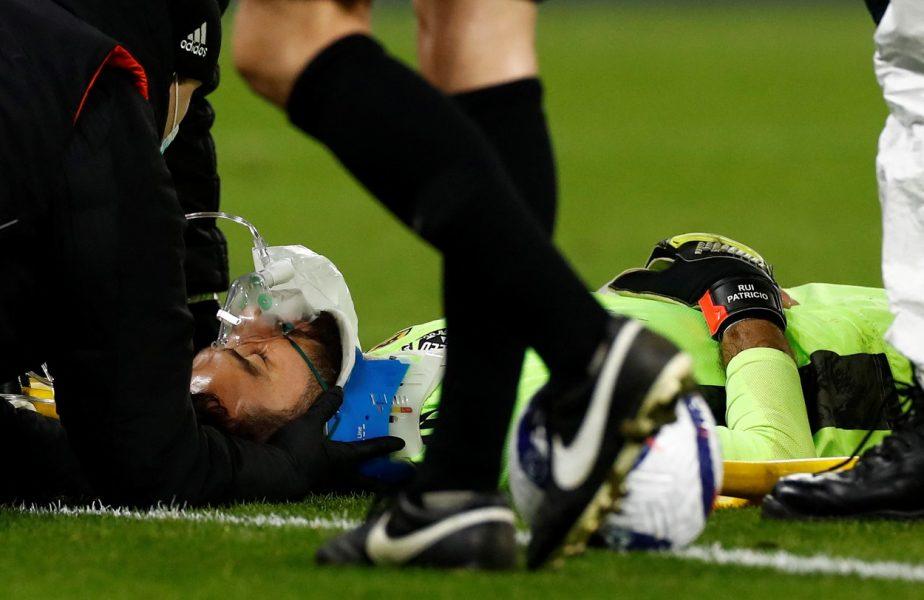 Rui Patricio, accidentare horror în Wolverhampton – Liverpool 0-1. A fost scos cu targa și a avut nevoie de mască de oxigen, după ce a fost lovit cu genunchiul în cap