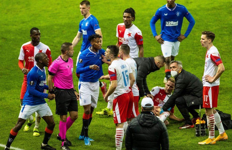 Scene halucinante după Rangers – Slavia Praga 0-2. Un jucător al cehilor a fost bătut de jucătorii lui Gerrard. A fost chemată poliţia