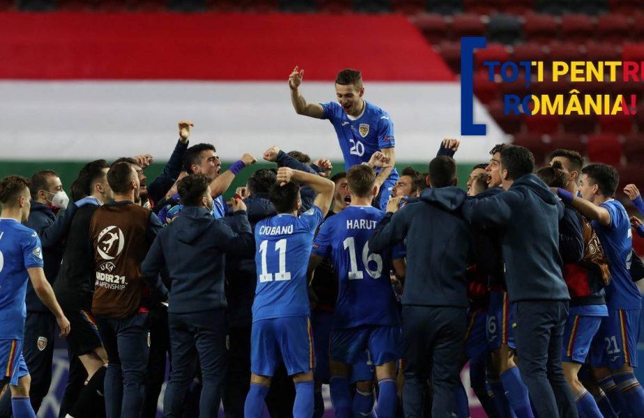 TOŢI PENTRU ROMÂNIA | S-a auzit Ciuleandra în mijlocul Budapestei! Bucuria jucătorilor României U21 după victoria în faţa Ungariei