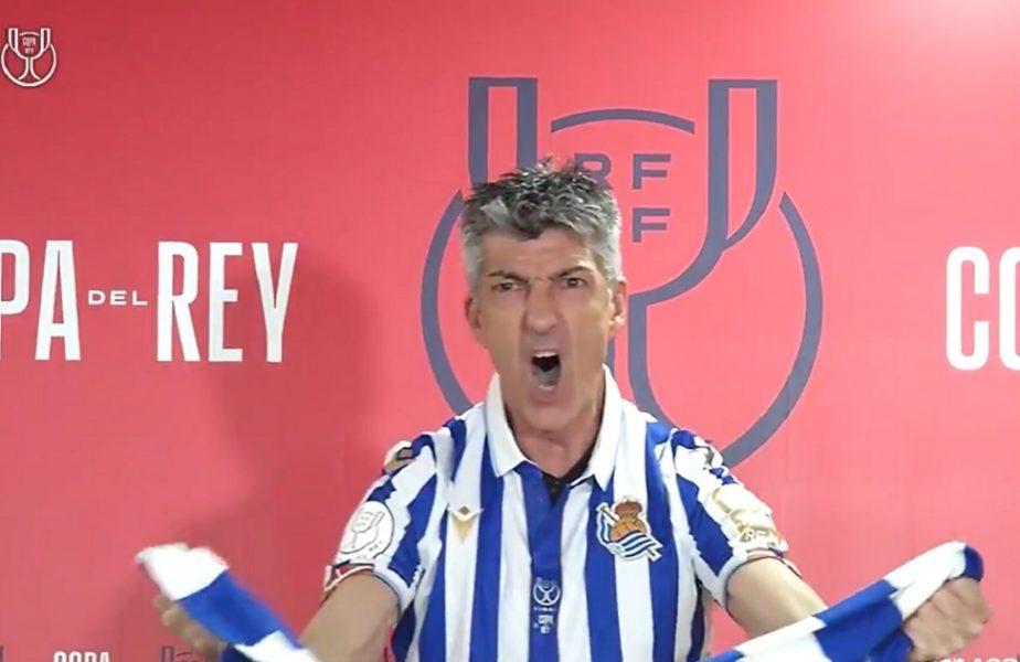 VIDEO. Antrenorul lui Real Sociedad s-a transformat în ultras după ce a câștigat Cupa Spaniei. A început să scandeze la conferința de presă