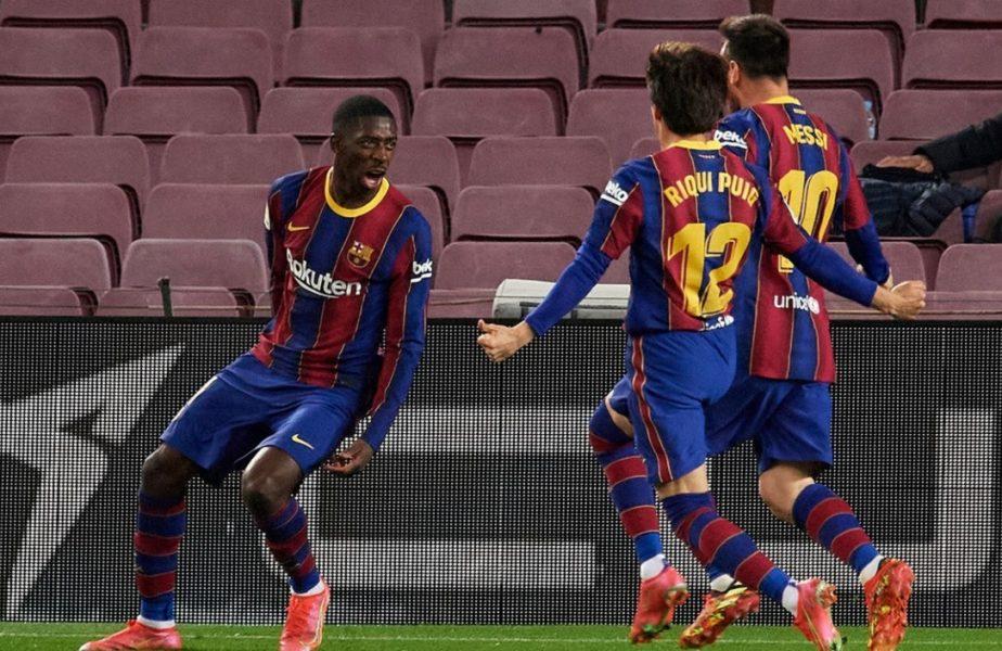 """Barcelona – Valladolid 1-0. Victorie dramatică pentru catalani, care s-au apropiat la doar un punct de liderul Atletico. Dembele şi-a salvat echipa înainte de """"El Clasico"""""""