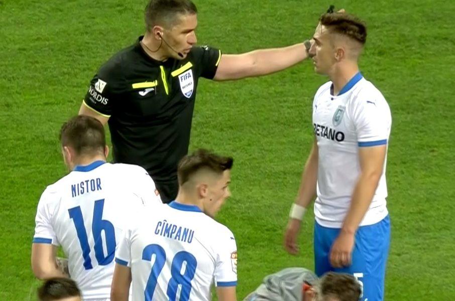 Universitatea Craiova – FCSB | Bogdan Vătăjelu, eliminat după ce i-a dat o palmă în stomac luiOctavian Popescu