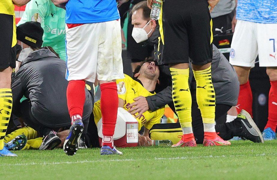 Imagini groaznice în Borussia Dortmund – Kiel 5-0. Mateu Morey a suferit o accidentare horror. Haaland și-a pus mâna la ochi