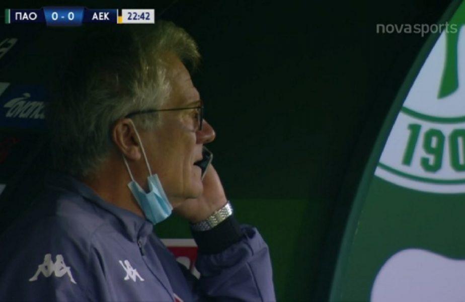 VIDEO | Mai rău decât la FCSB! Ladislau Boloni, surprins în timp ce vorbea la telefon în timpul derby-ului Panathinaikos – AEK 0-1. Reacţia românului!