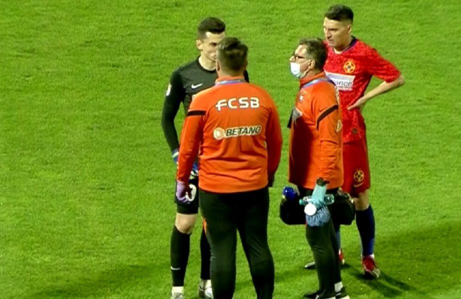 FCSB – Academica Clinceni | Sperietură uriașă în debutul meciului! Andrei Vlad, aproape de o gafă colosală și accidentare. Toni Petrea l-a schimbat la pauză