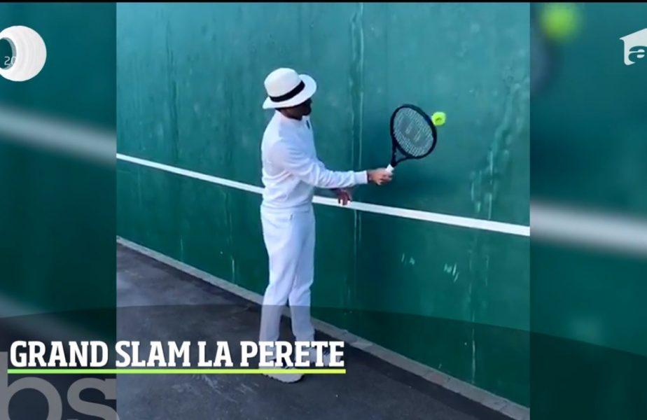 Roger Federer se antrenează ca în copilărie! Dă la perete!