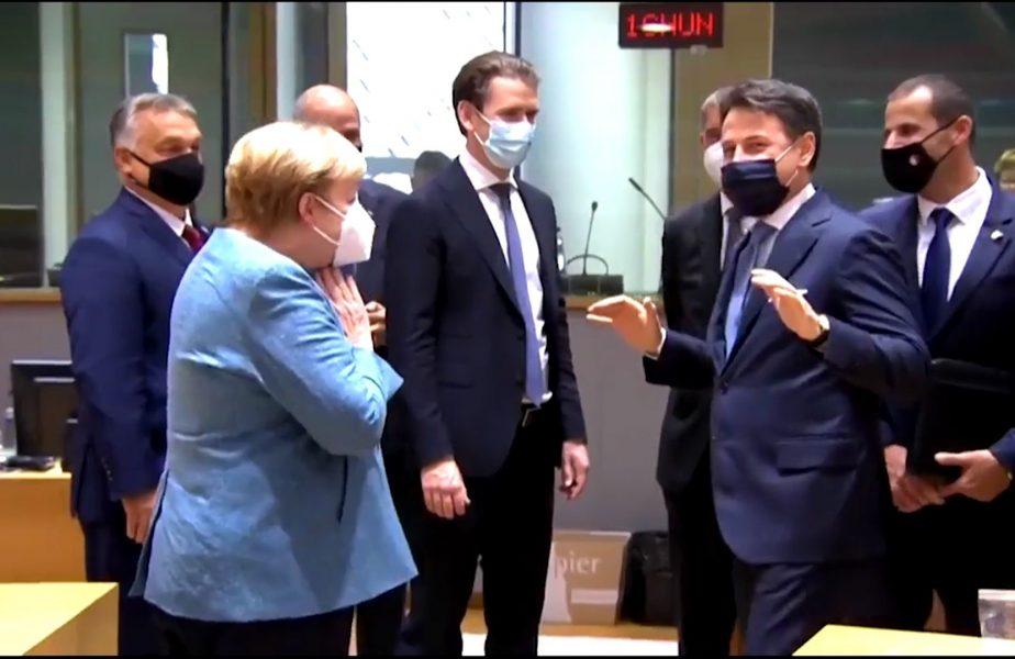 Cancelarul Merkel si premierul Italiei, Conte, fenta zilei la Bruxelles