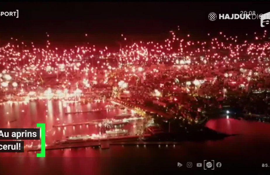 S-a aprins Croaţia!!! Fanii lui Hajduk au făcut show total pe cerul din Split!