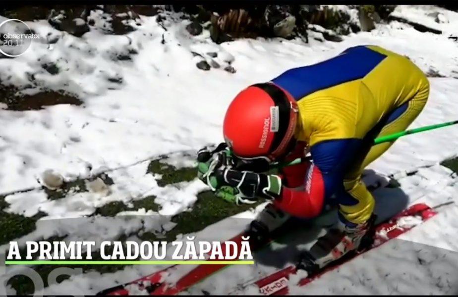 Cel mai bun tare schior al Romaniei a primit zăpadă de ziua lui