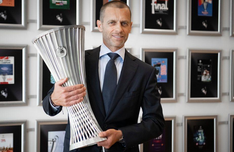 UEFA a prezentat oficial trofeul Conference League! FCSB şi Craiova, printre echipele care vor juca în noua competiţie