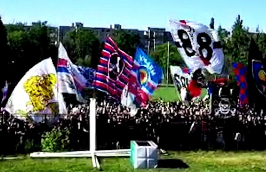 Sute de fani ai Stelei cântă în afara stadionului