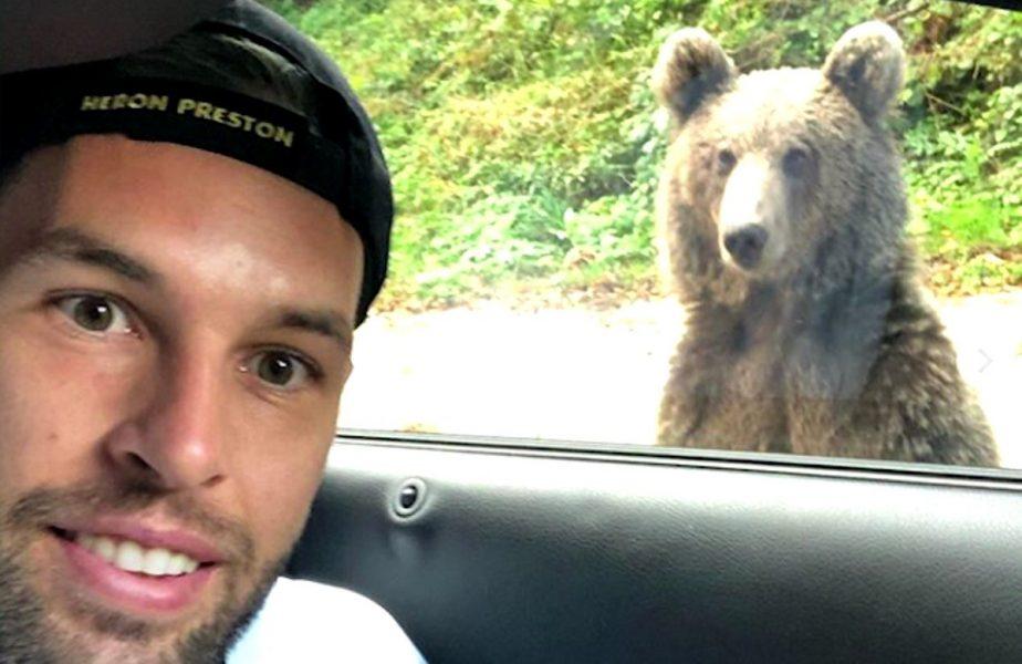 Un jucător a dat nas în nas cu ursul