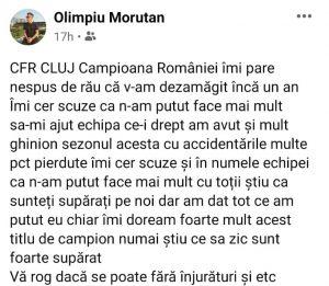 Olimpiu Moruţan, mesaj pentru fanii FCSB