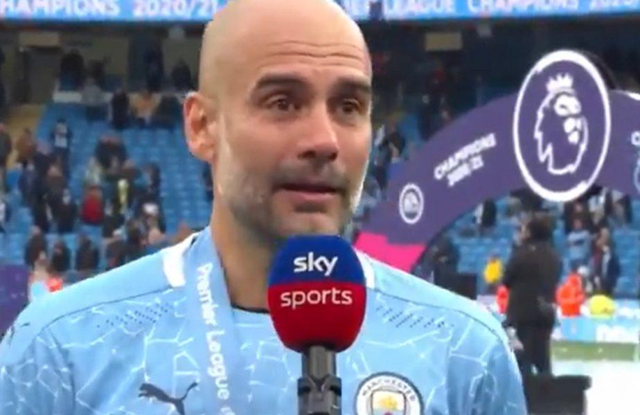 """VIDEO. Pep Guardiola a izbucnit în lacrimi! Declaraţii impresionante despre Sergio Aguero. """"Îl iubim atât de mult!"""""""