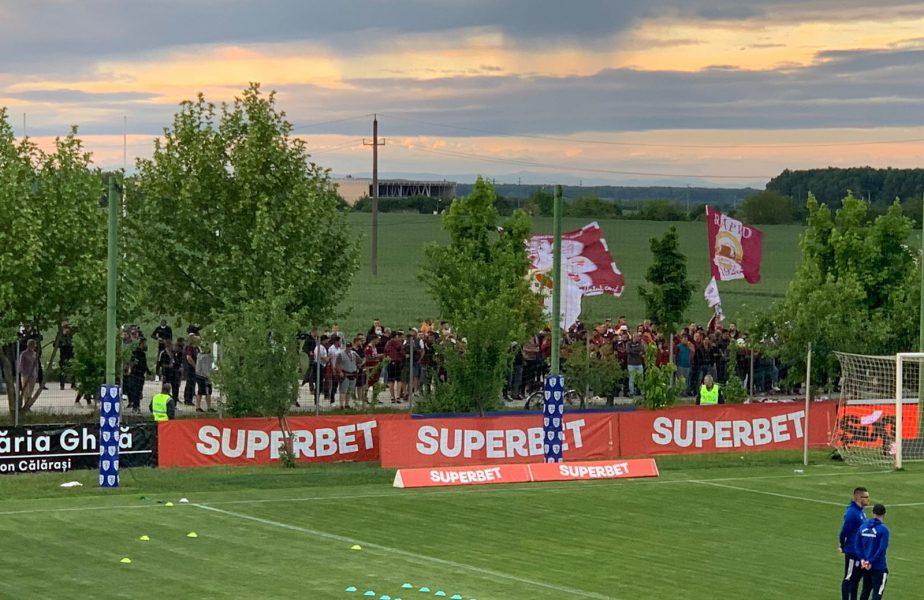 A început petrecerea la Buftea! Fanii Rapidului sărbătoresc promovarea în Liga 1 după 6 ani