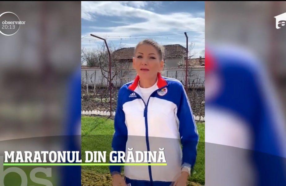 Constantina Diță aleargă în fiecare zi prin curtea casei
