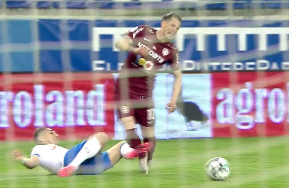 CFR Cluj putea primi penalty în derby-ul cu Universitatea Craiova. Ciprian Deac, faultat în careu de Vătăjelu! Istvan Kovacs l-a înfuriat pe Edi Iordănescu