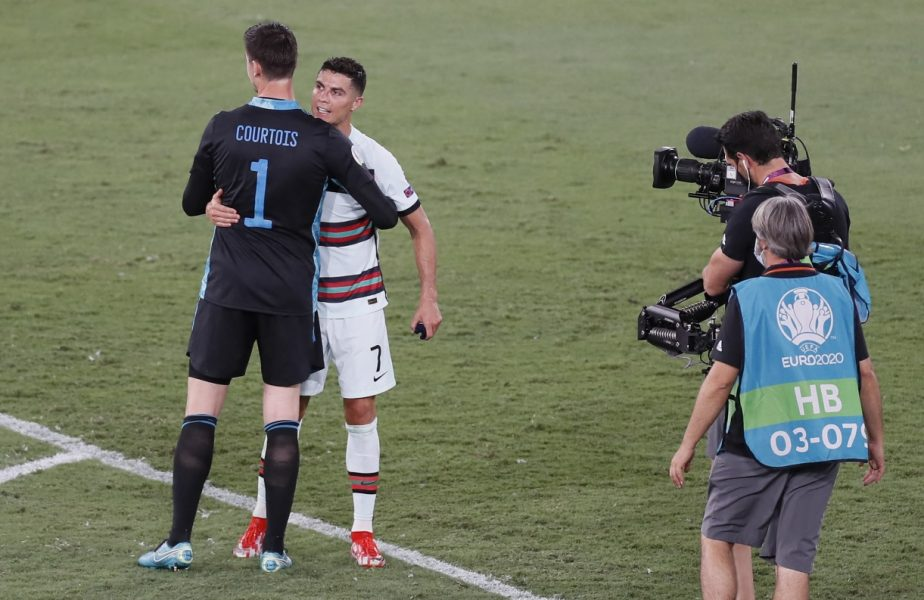 Belgia – Portugalia 1-0 | Ce i-a spus Cristiano Ronaldo lui Thibaut Courtois chiar pe teren, la finalul meciului. Camerele TV au surprins totul