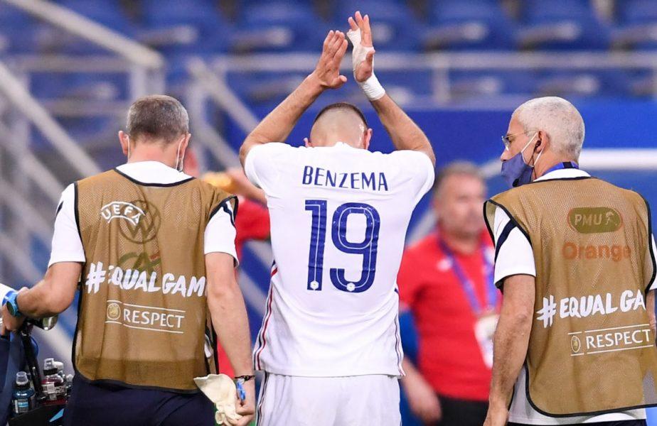 Cum a fost surprins Karim Benzema în prelungirile partidei Franţa - Bulgaria 3-0.