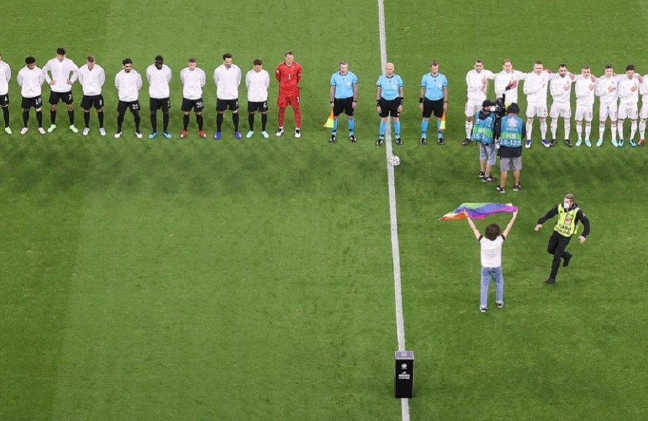 EURO 2020 | Scandal înainte de Germania – Ungaria! Un tânăr cu un drapel LGBT a intrat pe teren la intonarea imnurilor