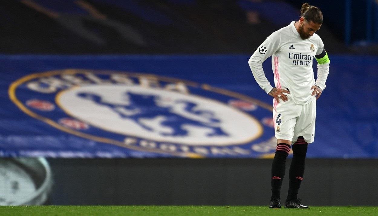 Sergio Ramos în tricoul lui Real Madrid, la un meci cu Chelsea