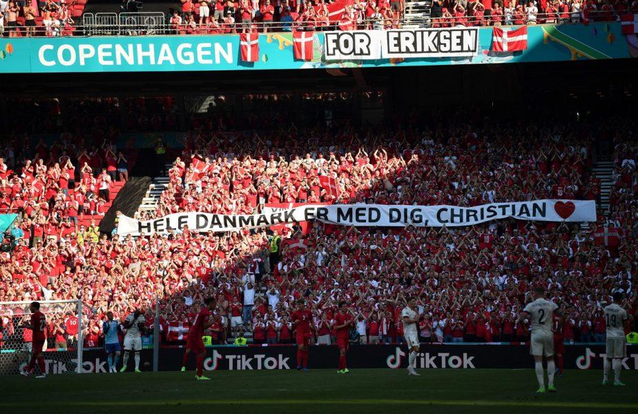 Euro 2020 | Danemarca – Belgia s-a oprit pentru Christian Eriksen! Jucătorii, fanii și arbitrii au aplaudat. Mesaje emoționante din tribună