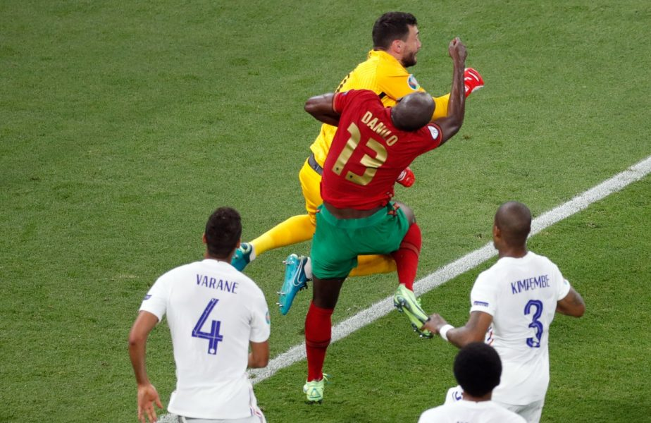EURO 2020 | Imagini greu de privit în Portugalia – Franţa. Danilo a fost lovit cu pumnul în cap de Hugo Lloris. Benzema, primul gol marcat de la revenire după un penalty controversat