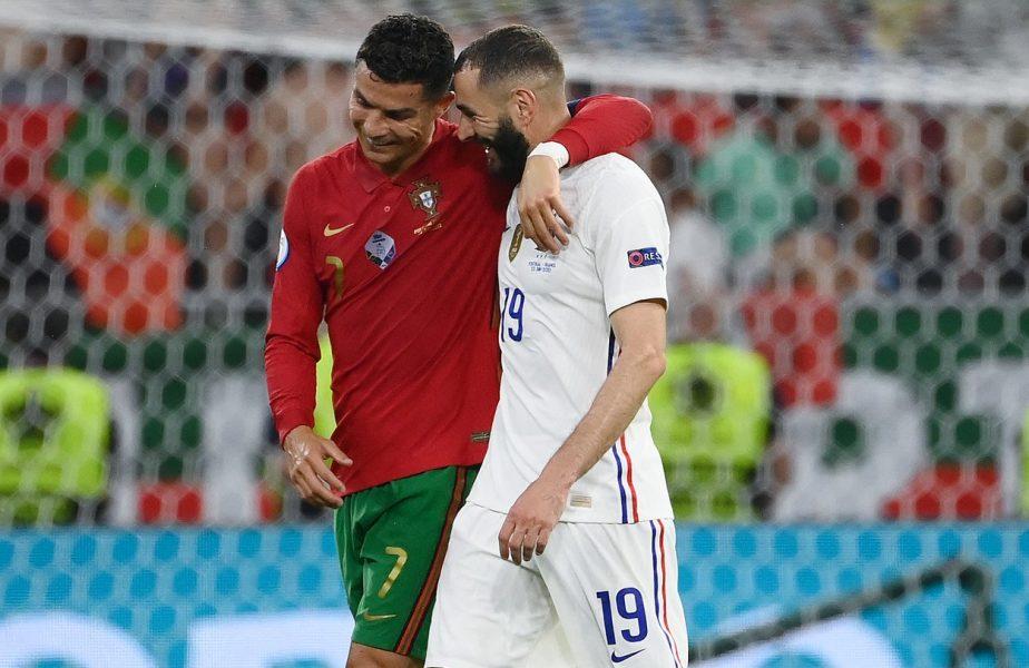 EURO 2020 | Imaginea zilei! Cristiano Ronaldo l-a felicitat pe Karim Benzema după ce a marcat împotriva Portugaliei. Dublă de senzaţie pentru starul francez