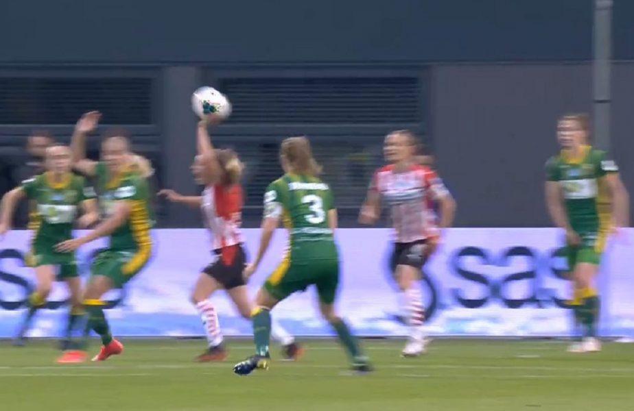 VIDEO. Cel mai ciudat penalty! A cerut henţ la o adversară, apoi a fost lovită de minge în mână